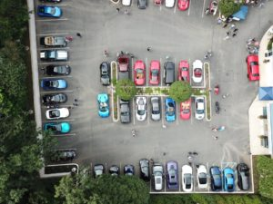 Aerial view of the car show fundraiser, held at the Orthopedic Spine Care of Long Island building.